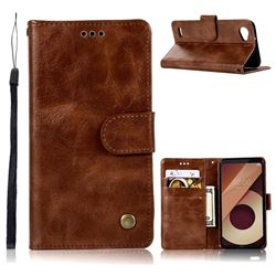 Luxury Retro Leather Wallet Case for LG Q6 (LG G6 Mini) - Brown