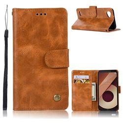 Luxury Retro Leather Wallet Case for LG Q6 (LG G6 Mini) - Golden