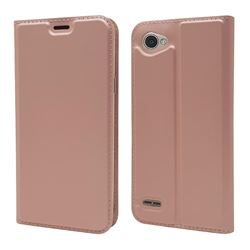 Ultra Slim Card Magnetic Automatic Suction Leather Wallet Case for LG Q6 (LG G6 Mini) - Rose Gold
