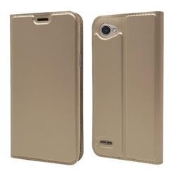 Ultra Slim Card Magnetic Automatic Suction Leather Wallet Case for LG Q6 (LG G6 Mini) - Champagne