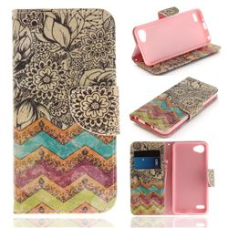 Wave Flower PU Leather Wallet Case for LG Q6 (LG G6 Mini)