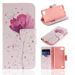 Purple Orchid PU Leather Wallet Case for LG Q6 (LG G6 Mini)