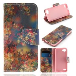 Colored Flowers PU Leather Wallet Case for LG Q6 (LG G6 Mini)