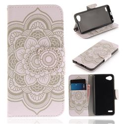White Flowers PU Leather Wallet Case for LG Q6 (LG G6 Mini)