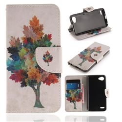 Colored Tree PU Leather Wallet Case for LG Q6 (LG G6 Mini)