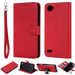 Retro Greek Detachable Magnetic PU Leather Wallet Phone Case for LG Q6 (LG G6 Mini) - Red