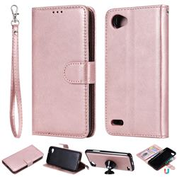 Retro Greek Detachable Magnetic PU Leather Wallet Phone Case for LG Q6 (LG G6 Mini) - Rose Gold