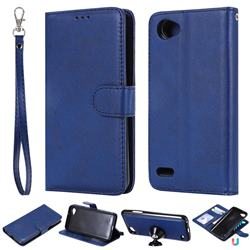 Retro Greek Detachable Magnetic PU Leather Wallet Phone Case for LG Q6 (LG G6 Mini) - Blue