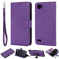 Retro Greek Detachable Magnetic PU Leather Wallet Phone Case for LG Q6 (LG G6 Mini) - Purple