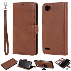 Retro Greek Detachable Magnetic PU Leather Wallet Phone Case for LG Q6 (LG G6 Mini) - Brown