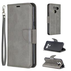 Classic Sheepskin PU Leather Phone Wallet Case for LG Q60 - Gray