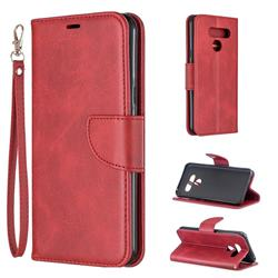 Classic Sheepskin PU Leather Phone Wallet Case for LG Q60 - Red