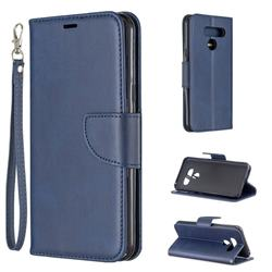 Classic Sheepskin PU Leather Phone Wallet Case for LG Q60 - Blue