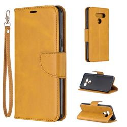 Classic Sheepskin PU Leather Phone Wallet Case for LG Q60 - Yellow