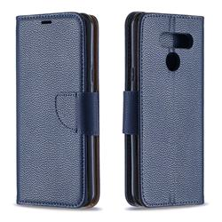 Classic Luxury Litchi Leather Phone Wallet Case for LG Q60 - Blue