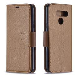 Classic Luxury Litchi Leather Phone Wallet Case for LG Q60 - Brown