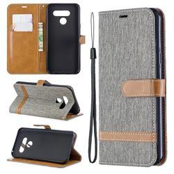 Jeans Cowboy Denim Leather Wallet Case for LG Q60 - Gray