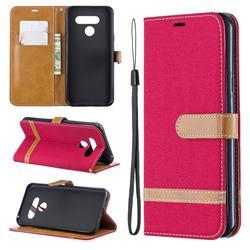 Jeans Cowboy Denim Leather Wallet Case for LG Q60 - Red
