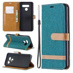 Jeans Cowboy Denim Leather Wallet Case for LG Q60 - Green