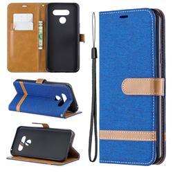 Jeans Cowboy Denim Leather Wallet Case for LG Q60 - Sapphire