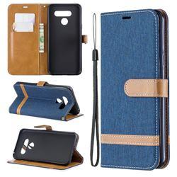 Jeans Cowboy Denim Leather Wallet Case for LG Q60 - Dark Blue