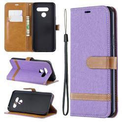 Jeans Cowboy Denim Leather Wallet Case for LG Q60 - Purple