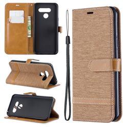 Jeans Cowboy Denim Leather Wallet Case for LG Q60 - Brown