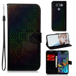 Laser Circle Shining Leather Wallet Phone Case for LG Q60 - Black