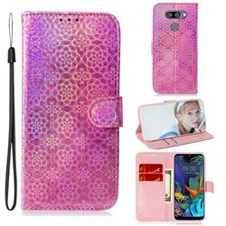 Laser Circle Shining Leather Wallet Phone Case for LG Q60 - Pink