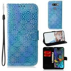 Laser Circle Shining Leather Wallet Phone Case for LG Q60 - Blue
