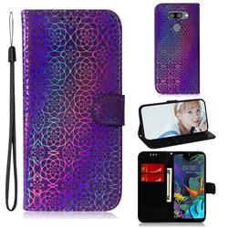 Laser Circle Shining Leather Wallet Phone Case for LG Q60 - Purple