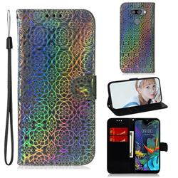 Laser Circle Shining Leather Wallet Phone Case for LG Q60 - Silver