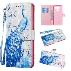 Blue Peacock 3D Painted Leather Wallet Phone Case for LG Q60