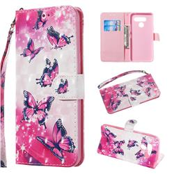 Pink Butterfly 3D Painted Leather Wallet Phone Case for LG Q60