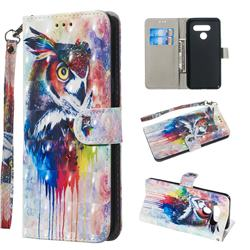 Watercolor Owl 3D Painted Leather Wallet Phone Case for LG Q60
