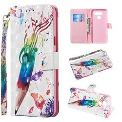 Music Pen 3D Painted Leather Wallet Phone Case for LG Q60