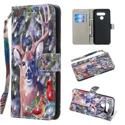 Elk Deer 3D Painted Leather Wallet Phone Case for LG Q60