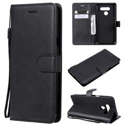 Retro Greek Classic Smooth PU Leather Wallet Phone Case for LG Q60 - Black