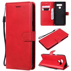 Retro Greek Classic Smooth PU Leather Wallet Phone Case for LG Q60 - Red