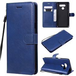 Retro Greek Classic Smooth PU Leather Wallet Phone Case for LG Q60 - Blue