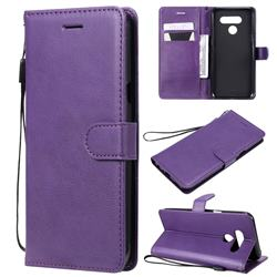 Retro Greek Classic Smooth PU Leather Wallet Phone Case for LG Q60 - Purple