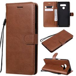 Retro Greek Classic Smooth PU Leather Wallet Phone Case for LG Q60 - Brown