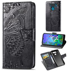 Embossing Mandala Flower Butterfly Leather Wallet Case for LG Q60 - Black
