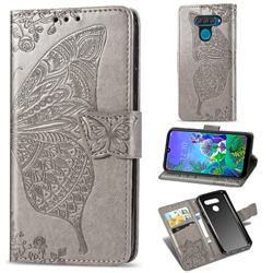 Embossing Mandala Flower Butterfly Leather Wallet Case for LG Q60 - Gray