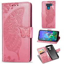 Embossing Mandala Flower Butterfly Leather Wallet Case for LG Q60 - Pink