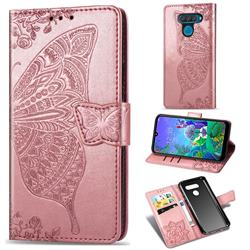 Embossing Mandala Flower Butterfly Leather Wallet Case for LG Q60 - Rose Gold