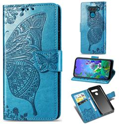 Embossing Mandala Flower Butterfly Leather Wallet Case for LG Q60 - Blue
