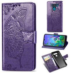 Embossing Mandala Flower Butterfly Leather Wallet Case for LG Q60 - Dark Purple