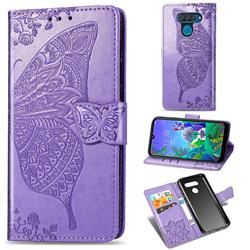 Embossing Mandala Flower Butterfly Leather Wallet Case for LG Q60 - Light Purple