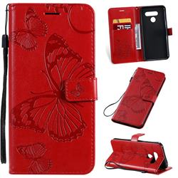 Embossing 3D Butterfly Leather Wallet Case for LG Q60 - Red